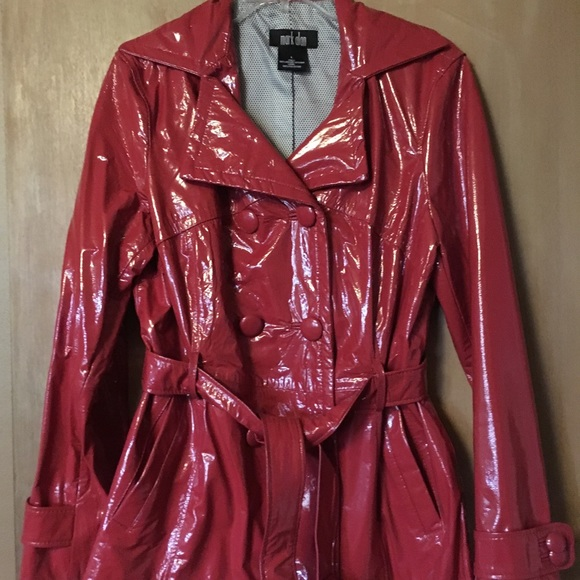 b051f1f48 Mark Alan fire engine red patent leather coat